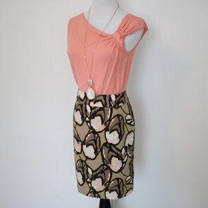 ANN TAYLOR Size 4 Skirt & Blouse Set Peach Brown